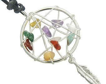Brazilian Lucky Multi Crystals Native Dream Catcher Gemstones Amulet Pendant Necklace
