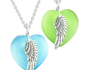 Amulets Angel Wing Hearts Love Couples or Best Friends Neon Green Sky Blue Simulated Cats Eye Necklaces