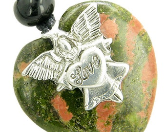 Guardian Spirit Angel Love Heart Amulet Spiritual Protection Unakite Pendant Necklace