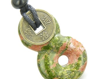 Infinity Magic Knot Lucky Coin and Spiritual Protection Amulet Unakite Pendant Necklace