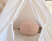 Kids Teepee Tent in White Canvas with White Pom Pom fringe - Childrens teepee for nursery, playroom, kids photo prop, play teepee, tipi tent