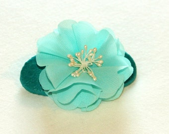 Teal Barrette with Teal Flower