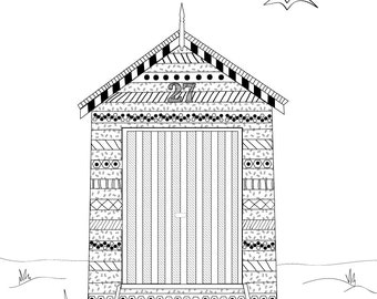 Beach Box Boat Shed Colouring In for Adults Coloring in