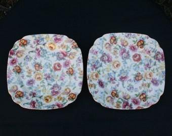 Set of Two Vintage Japanese Chintz Plates