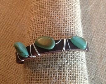 Leather Bracelet with Turq Stones