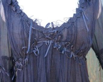 Silk Sheer Inky Black Peasant Blouse, Sheer Stevie Nicks, 90s Silk Gothic Steampunk Blouse, Sheer Black Silk Blouse, Gypsy Shirt