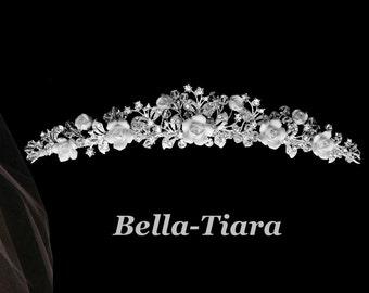 silver wedding crystal tiara, wedding tiara with roses, bridal tiara, wedding crystal headpiece, bridal tiara, romantic wedding tiara