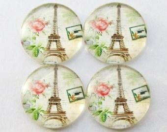 pk of 4 Glass Cabochon 24mm Paris Eiffel Tower Vintage Rose Love romantic