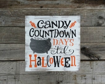 Distressed Countdown to Halloween Wooden Sign, Halloween Sign, Halloween Countdown, Primitive Halloween Decor, Halloween Chalkboard Sign