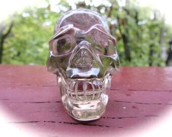 Smokey Quartz Carved Crystal Skull with Rainbow