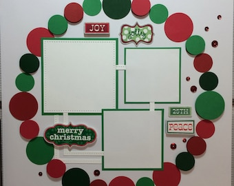 Merry Christmas 12x12 premade scrapbook page
