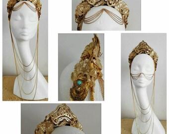 Art deco art nouveau greec goddess headpiece burlesque act headdress