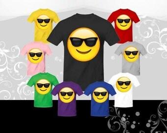 Smiling Sunglasses Emoji T-shirt (U+1F60E)