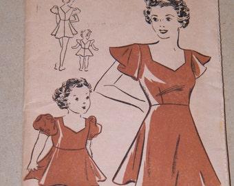 VTG 30s Girls Dance Costume DAZIAN'S No. 3 ~ SZ 4 Dress w/ Puffed & Cap Sleeves