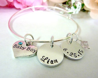 New Mother Gift Baby Shower Gift New Mom Expectant Mommy bracelet Personalized New Baby Boy Baby Girl Bracelet