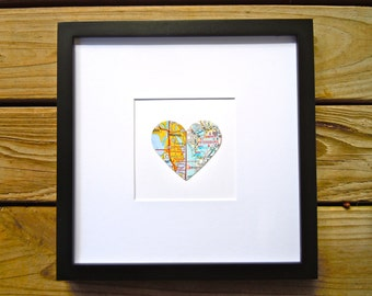 Divided Heart Map - Couples Framed Map - Framed Map Decor - Wedding Gift - Travel Theme - Engagement Gift - Two City Map - Divided Map Gift