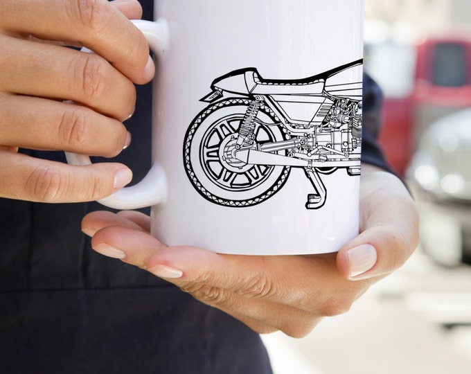 KillerBeeMoto: U.S. Made Coffee Mug Limited Release Italian Engineered Vintage Custom Cafe Racer Cartoon Style Coffee Mug (White)