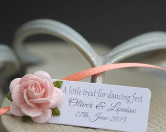 """Small gift tag reading """"A little treat for your dancing feet"""", personalized tags, favor tags"""