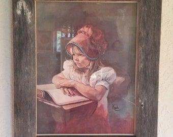 Pioneer School Girl Print In Repurposed Barnwood Frame