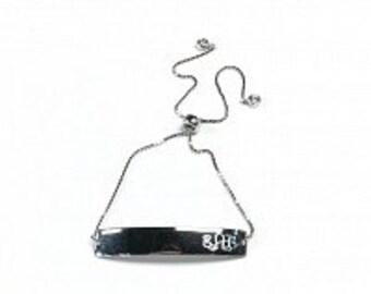 Monogrammed Sterling Silver Bar Bracelet, Adjustable Bar Bracelet