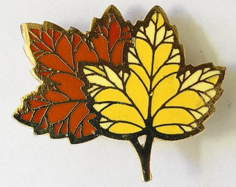 Vtg Hallmark Enamel Leaves Pin Goldtone Yellow Orange