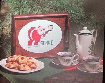 Counted Cross Stitch Pattern Santa Claus w/Tennis Racquet SERVE Christmas