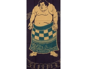 Sumo, Tenugui, Japanese, sumo wrestler, grappler, matman, Hand Dyed cotton fabric,  tapestry, gift ideas, free shipping