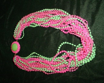 Green and Pink Multi-strand Necklace
