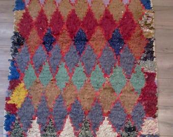 """Moroccan rug boucherouite ref 043 (boucharouette) 59 x 40 """" berber tribal art"""