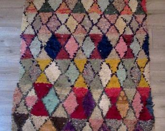 """Moroccan rug boucherouite ref 047 (boucharouette) 181 x 102 cm (71 x 40"""") berber tribal art"""