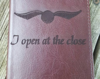 Laser Engraved Harry Potter Inspired I Open at the Close Faux Brown Leather Journal ~ Office Supplies ~ Golden Snitch