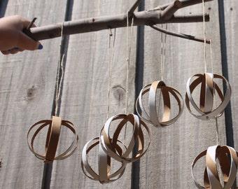 Atomic Balls, Round minimalistic cardboard hanging ornaments - Set of three