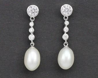 long pearl earrings,long bridal earrings,long dangling earrings with pearls, pearl rhinestone earrings,bridesmaid pearl earrings jewelry
