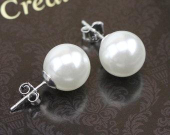Pearl Earringsglass Stud Earringssilver 925 Bridal Earingsbridesmaid Earrings