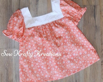 Girl's Top - Peach Floral with White Yoke - Elastic Sleeve Top