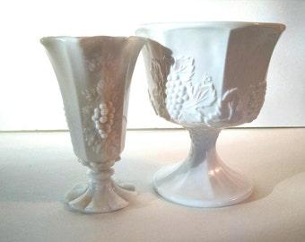 Vintage Milk Glass Grape Panel Vases Set of Two Westmoreland Footed White Vases Wedding, Shower or Home Decor