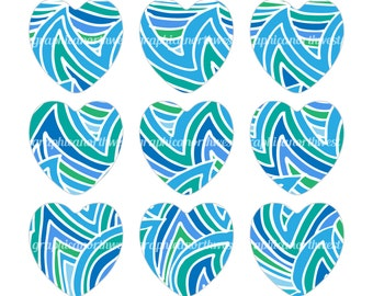 Digital File Instant download Turquoise and Green Hearts