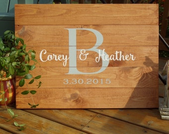 Personalized Family name sign hand painted with initial, last name and wedding date