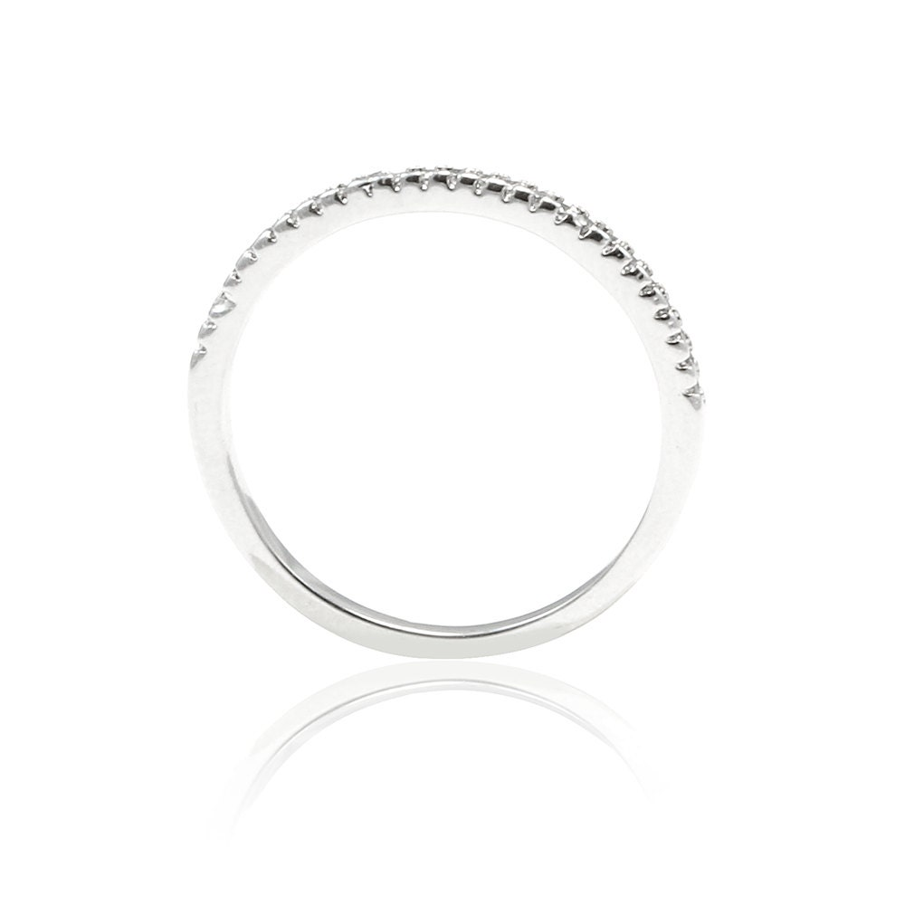 Half Eternity Band Bands: 1.5mm Thin Half Eternity Wedding Ring Band Sterling Silver