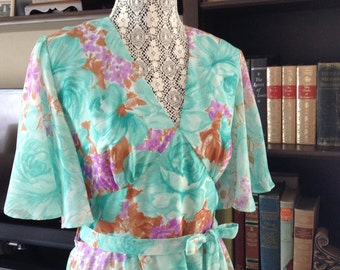 70s Long Chiffon Dress, Floral print, turquoise teal purple brown colors
