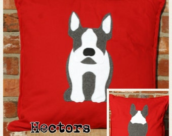 Cushion with a tail - red reversible french bulldog cushion