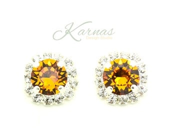 TOPAZ HALO 8mm Crystal Halo Stud Earrings Made With Swarovski Elements *Sterling Overlay *Karnas Design Studio *Free Shipping*
