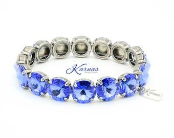 SAPPHIRE 12mm Stretch Bracelet Made With Swarovski Elements *Pick Your Finish *Karnas Design Studio *Free Shipping