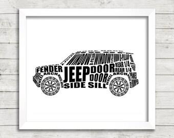 "Jeep Renegade Art, Jeep Decor, Garage Pictures, Car Art, Jeep Renegade, Instant Download, Jeep Typography Art, 8 x 10"",  14 x 11"""