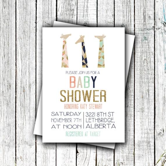 Printable Baby Shower Invitation, Baby shower, Gender Neutral, Giraffes, Safari, Gold 4x6 or 5x7 #38