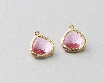 Pink Teardrop Glass Pendant . Polished Gold Plated . Brass Framed . 10 Pieces / G1004G-PK010