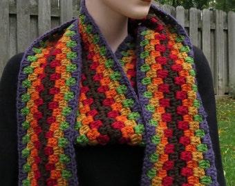 Crochet Long Scarf, Striped, Granny Scarf, Extra long, Retro