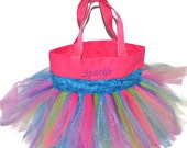 Sparkle Tutu Bag, Dance Bag, Sparkle Ribbon Free Monogram Name Embroidered on the Bag. Personalized Girl, Ballet Bag, Dance Class Bag
