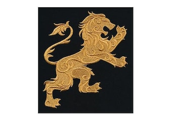 Embroidered Patch / applique - heraldry lion - sew or glue on 6x5 ANY COLORS