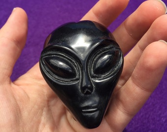 Obsidian Alien Head